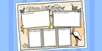 Story Book Review Writing Frame to Support Teaching on Handa's Hen - write, picture