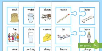 Rhyming Words on Jigsaw Matching Cards - Rhyming Words On Jigsaw Matching Cards, game, literacy, English, Language, speaking, listening, inte