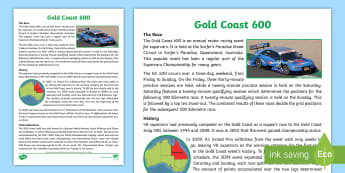 Gold Coast 600 Fact Sheet - Car racing, Car rally, Australian sport, holden, ford, bathurst