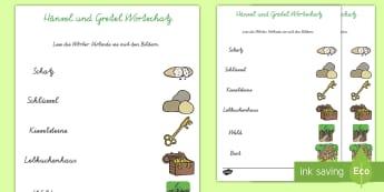 Hänsel und Gretel Wörter und Bilder Zuordnen Arbeitsblatt - Hänsel und Gretel, Märchen, Wortschatz,German