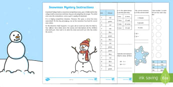 KS1 The Mystery of the Snowman's Nose Problem Solving Game - Winter, maths game, snowman game, mystery maths, KS1 maths, KS1 number skills, snowman, mystery game