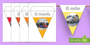 Transport Photo Display Bunting Spanish - Spanish, Vocabulary, KS2, transport, bunting, display ,Spanish