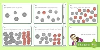 US Money Task Cards - Common Core, Second Grade, Measurement, Money, dollars, dimes, cents, adding money, subtracting mone