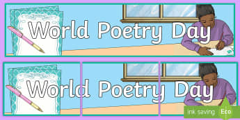 World Poetry Day Banner - world poetry day, poems, poetry, World Poetry Day Banner, line pencils