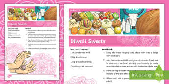 Easy Diwali Sweets Recipe - recipe, easy recipe, basic recipe, basic sweets recipe, easy sweets recipe, cooking, baking, how to make diwali sweets, kids recipes, instructions, ingredients, festival, religion, hindu, devali, deepavali, dates, coconut,