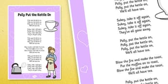 Polly Put the Kettle On Poster - polly put the kettle on, rhyme