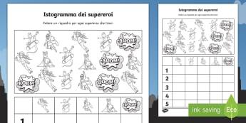 Istogramma dei supereoi Attività - matematica, statistica, numeri, ordinare, super, eroi, colora, colrare, amteriale, scolastico