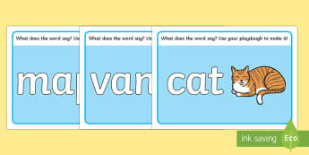 CVC Word Playdough Mats (a) - CVC, CVC word, playdough mat, playdough, three phoneme words, three sound words, consonant vowel consonant, words, three letter words, letters and sounds, DfES letters and sounds