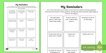 Year 6 Back to School My Reminders Activity Sheet - Back to school, b2s, ice breaker, first day, year 6, worksheet, getting to know you, class, new term