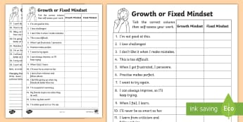 KS1 Growth And Fixed Mindset Comments Activity Sheet - Carol Dweck, PMA, positive mental attitude, behaviour, attitude to learning, attitude, mindset, ment