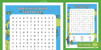 Where in the World Shall We Go? Word Search - ROI, Aistear, Travel Agents, Activity Sheet,Irish
