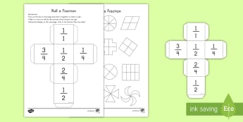 Roll a Fraction: Half, Quarter and Two Quarters Activity - fractions, dice, game, activity, half, quarter