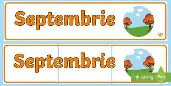 Septembrie Banner - lunile anului, decorul clasei, activități, panoul clasei, activități lunare,Romanian