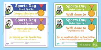 Sports Day Effort Certificates English/Polish - Sports Day Effort Certificates - sports day, effort, certificates, certficates, certifcates, cerific