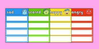 Emotions Vocabulary Cards - Emotions, Vocabulary, Cards, Sad