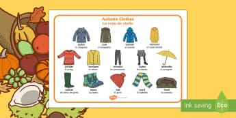 Autumn Clothes Word Mat English/Spanish  - Autumn, seasons, september, october, november, topics, ks1, harvest, clothes, clothing, wear, jacket