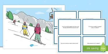 Sporturi de iarnă - Planșă cu set de întrebări  - română, materiale, comunicare, dezvoltarea vorbirii, citire după imagini, schi, sporturi de iarn