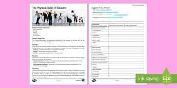 The Physical Skills of Dancers Activity Sheet -  dance skills, physical skills, GCSE dance, btec dance, worksheet