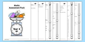 Year 4 Maths Assessment Pack Term 2 - year 4, maths, assessment, pack, term 2
