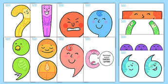 Punctuation Character Display Cut Outs - punctuation, literacy, literacy, writing, punctuation, display