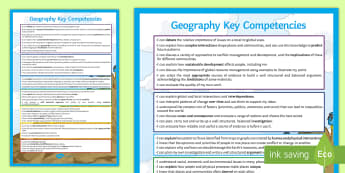 Geography Key Competencies Display Poster - progress, next steps, standards, expectations, peer assessment, self assessment
