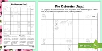 Easter Egg Hunt Directions Activity - Easter, Ostern, German, Directions, Directions in German, Ostern, Osterei, Ostereier Jagt, treasure