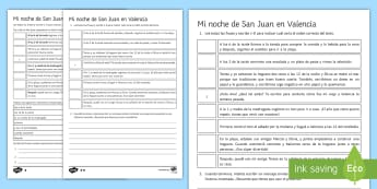 St. John's Eve Differentiated Activity Sheets -Spanish - Traditions, Culture, Spain, Saint, John's, Eve, KS3, Spanish, Differentiated, Reading, Comprehensio