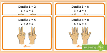 Finger Counting Doubles Display Posters - finger patterns, halves, numbers to 10, numeracy, counting, Scottish