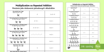 Multiplication as Repeated Addition English/Polish - Multiplication as Repeated Addition - multiplication, repeated, addition, add,mulitplication,multipi