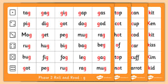 Phase 2 Letter Progression Set  g o c k Phoneme Roll and Read Mat