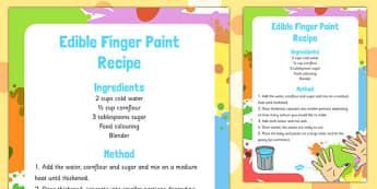 Finger Edible Paint Recipe - finger, edible, paint, recipe, eyfs