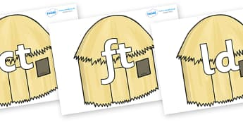 Final Letter Blends on Straw houses - Final Letters, final letter, letter blend, letter blends, consonant, consonants, digraph, trigraph, literacy, alphabet, letters, foundation stage literacy