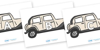 A-Z Alphabet on Wedding Cars - A-Z, A4, display, Alphabet frieze, Display letters, Letter posters, A-Z letters, Alphabet flashcards