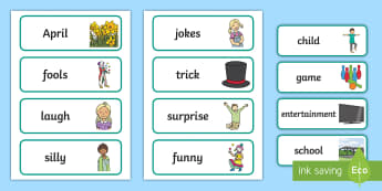 April Fools' Day Key Vocabulary Display Labels - ROI, April Fools Day, English, Key Vocabulary, Words,Irish
