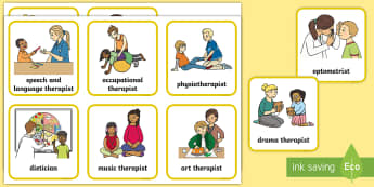 People Who Help Us – Allied Health Professionals Picture Cards - Speech therapist, occupational therapist, therapist, dietitian, orthoptist,physiotherapist, AHPs
