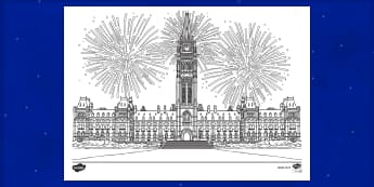 Houses of Parliament Fireworks Colouring Page