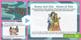 Diwali Information PowerPoint English/French  - religion, EAL French, festival of light, Rama, Sita, Ravana