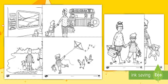Sand, Waves and Ice Cream Colouring Pages - ROI, Sand, Waves & Ice Cream, Aistear, Seaside, Beach, English, Activity, Display, Story, Irish