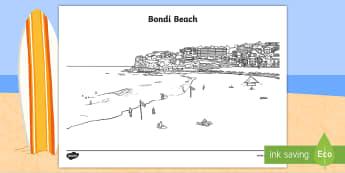 Bondi Beach Colouring Page-Australia - Sydney Australia, Australia, Bondi Beach, colouring, mindfulness