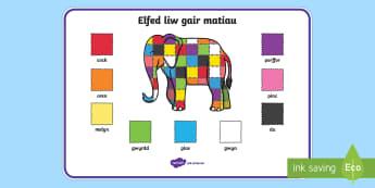 Elmer Colour Word Mat Cymraeg - cymraeg, elmer, colour, word mat, word, mat