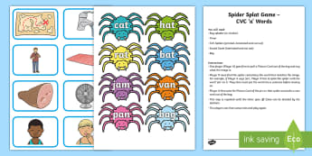 Spider Splat CVC 'a' Words Game - Phonics, Sounding out, Listening skills, speaking skills, Station Teaching
