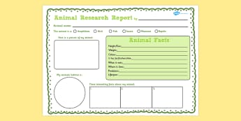 Animal Research Writing Frame - writing frame, animals, research