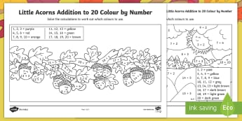 Little Acorns Addition to 20 Colour by Number - Twinkl originals, fiction, Little Acorns, Colour by number, maths, addition to 20, KS1