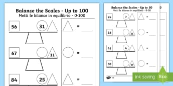 Balance the Scales Differentiated Activity Sheets English/Italian - Balance the Scale Differentiated Activity Sheets Main - measure, weigh, Addition, subtraction, balan
