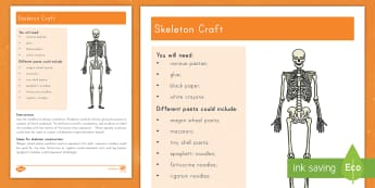 Skeleton Craft Instructions - Halloween, Noodles, Human Body, Physical Science, bones, art, Day of the Dead, skeletal system