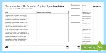 Translation Activity Sheets to Support Teaching on 'The Destruction of the Sennacherib' by Lord Byron - GCSE Poetry, Lord Byron, George Gordon Byron, The Romantics, Romantic Poetry, anapaestic tetrameter,