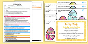Easter Egg Number Matching EYFS Busy Bag Plan and Resource Pack - Easter Number
