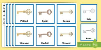 Europe Day Capital Cities Matching Cards - Europe Day, 9th of May, Europe, European Union, EU, Schuman Day, ECSC, ECC, European Economic Commun