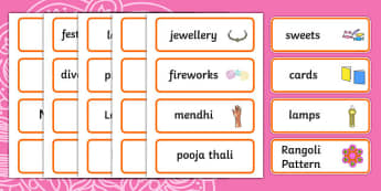 Diwali Word Cards - Word cards, Word Card, flashcard, flashcards, Diwali, religion, hindu, hanoman, rangoli, sita, ravana, pooja thali, rama, lakshmi, golden deer, diva lamp, sweets, new year, mendhi, fireworks, party, food