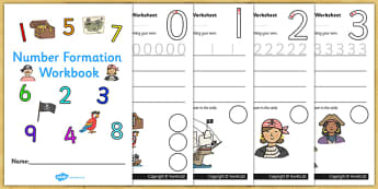 Number Formation Workbook Pirates - number, formation, pirates, overwriting